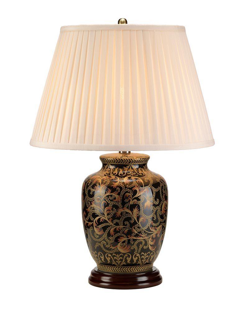 Elstead Morris Small Black Gold Ceramic Table Lamp Cream Shade