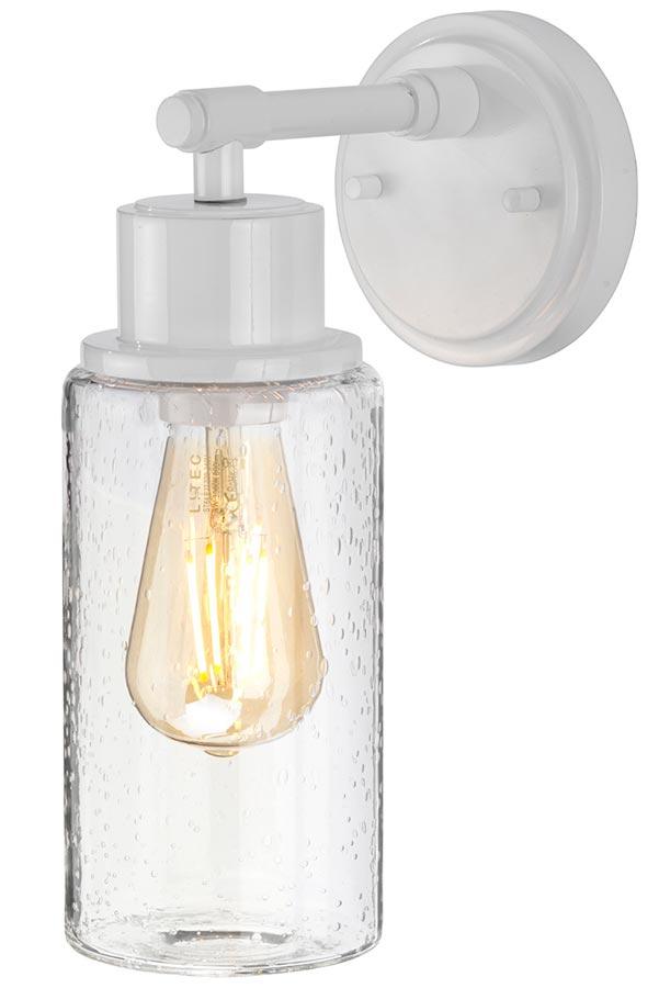 Elstead Morvah 1 Light Bathroom Wall Light Gloss White Bubble Glass