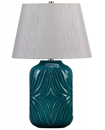 Elstead Muse Turquoise Ceramic Table Lamp Grey Shade