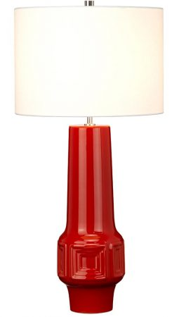 Elstead Muswell 1 Light Red Ceramic Tall Table Lamp White Shade