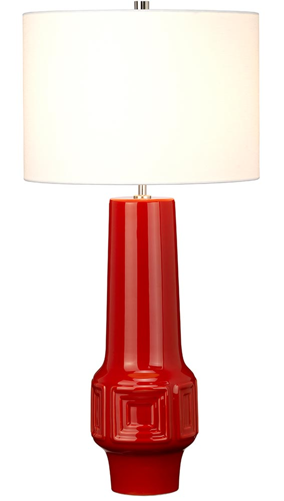 Elstead Muswell 1 Light Red Ceramic, Tall Red Lamp