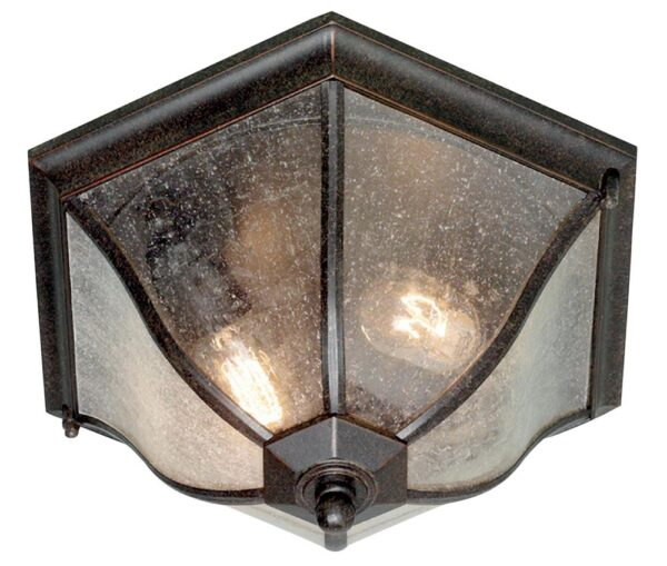 Elstead New England 2 Light Flush Outdoor Porch Lantern Bronze