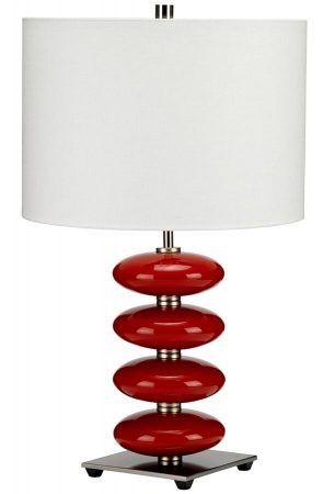 Elstead Onyx 1 Light Table Lamp Red Ceramic Orbs White Shade