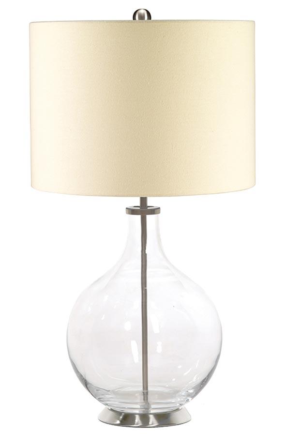 Elstead Orb 1 Light Clear Glass Table Lamp Cream Shade