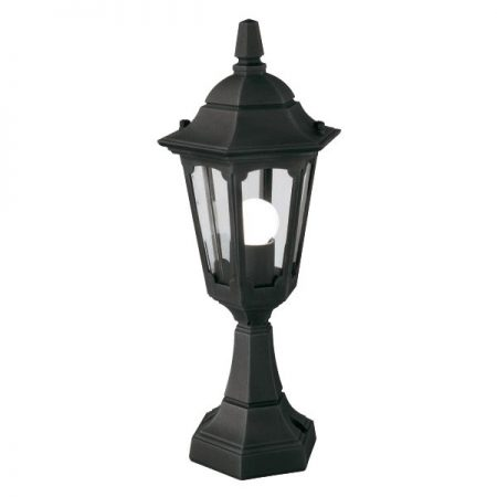 Elstead Parish Mini 1 Light Outdoor Pedestal Lantern Black