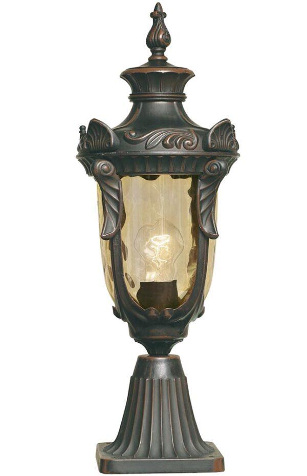 Elstead Philadelphia 1 Light Outdoor pedestal Lantern Old Bronze