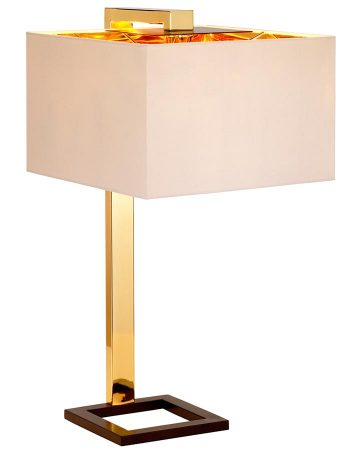 Elstead Plein 1 Light Polished Gold Table Lamp Cream Shade