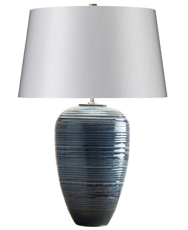 Elstead Poseidon Blue Ceramic Table Lamp Silver Shade