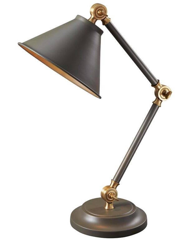 Elstead Provence Element Mini Desk Table Lamp Dark Grey Aged Brass