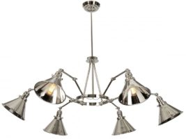 Elstead Provence 6 Light Chandelier Polished Nickel Adjustable Arms