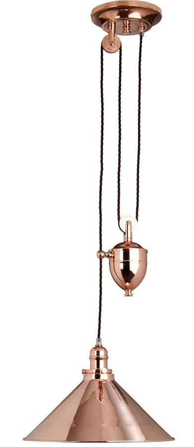 Elstead Provence Rise & Fall Pulley Ceiling Light Polished Copper