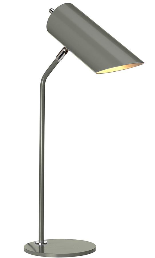 Elstead Quinto 1 Light Desk Table Lamp Dark Grey Polished Nickel