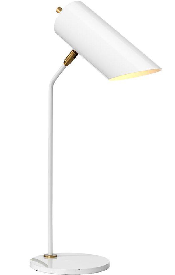 Elstead Quinto 1 Light Desk Table Lamp Gloss White Aged Brass