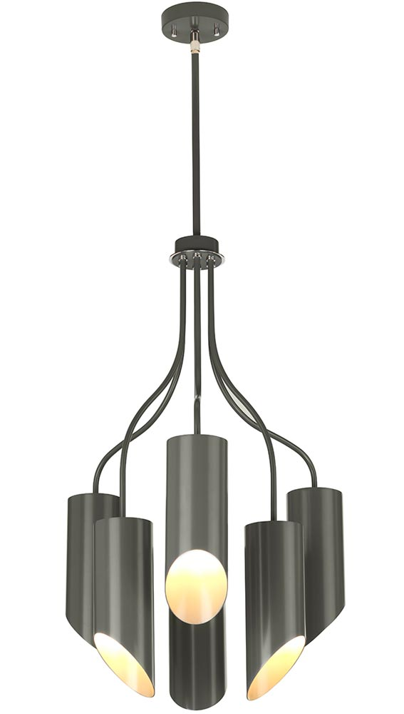 Elstead Quinto 6 Light Modern Chandelier Dark Grey Polished Nickel