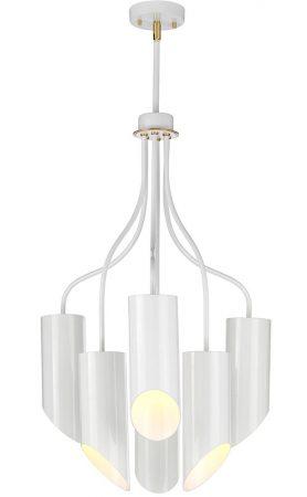 Elstead Quinto 6 Light Modern Chandelier Gloss White Aged Brass