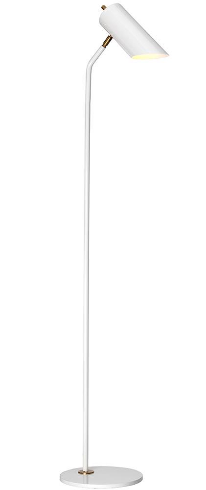 Elstead Quinto 1 Light Floor Lamp Gloss White Aged Brass