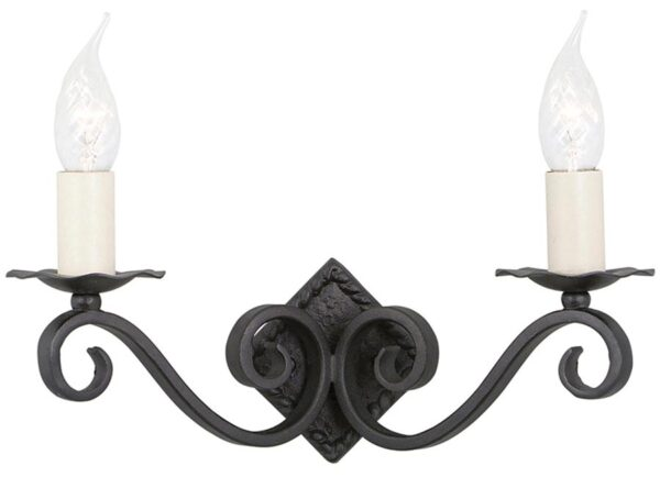Elstead Rectory Black Wrought Iron Gothic Twin Wall Light Style A