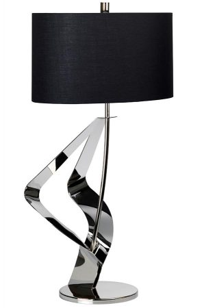 Elstead Ribbon 1 Light Polished Nickel Table Lamp Black Shade