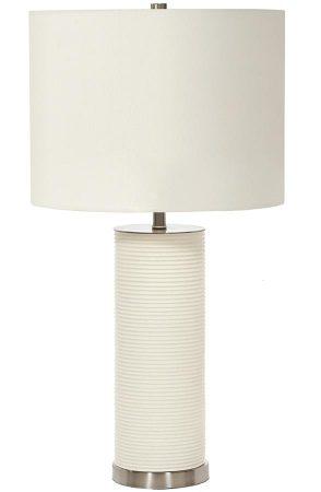 Elstead Ripple 1 Light White Resin Cylinder Table Lamp White Shade