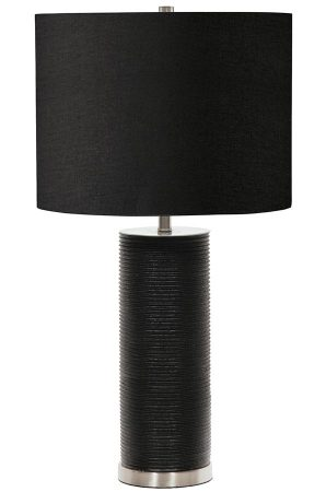 Elstead Ripple 1 Light Black Resin Cylinder Table Lamp Black Shade