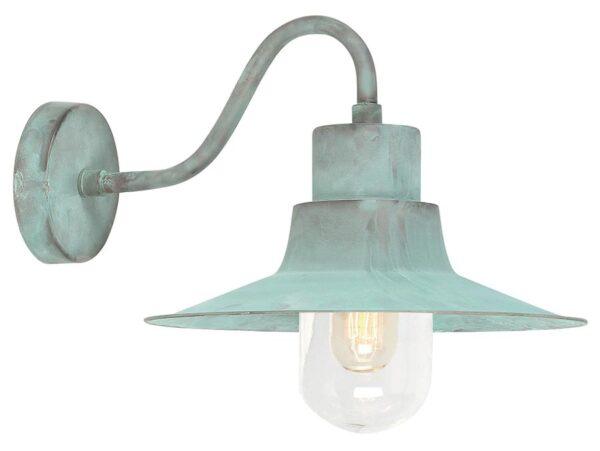 Elstead Sheldon 1 Light Outdoor Wall Lantern Verdigris Solid Brass