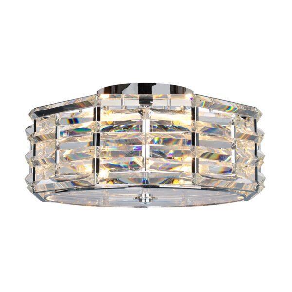Elstead Shoal Luxury 4 Lamp Flush Crystal Ceiling Light Polished Nickel