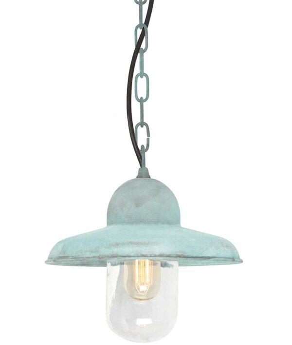 Elstead Somerton Hanging Outdoor Porch Lantern Verdigris Solid Brass