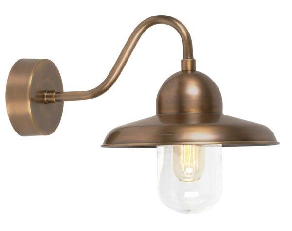 Elstead Somerton 1 Light Outdoor Wall Lantern Aged Solid Brass