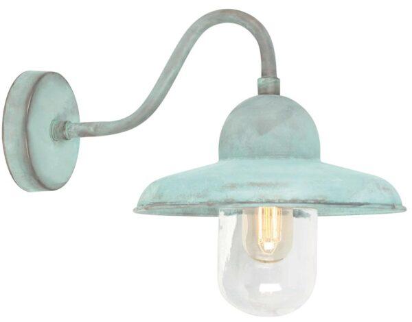 Elstead Somerton 1 Light Outdoor Wall Lantern Verdigris Solid Brass
