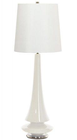 Elstead Spin 1 Light White Ceramic Table Lamp White Shade