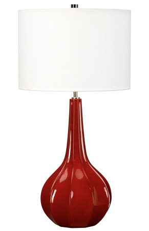 Elstead Upton 1 Light Red Ceramic Table Lamp White Shade
