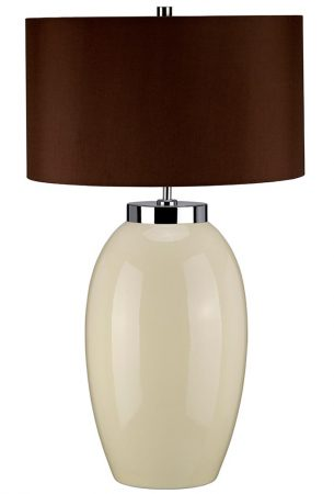 Elstead Victor 1 Light Large Cream Ceramic Table Lamp Brown Shade