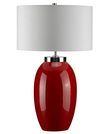 Elstead Victor 1 Light Large Red Ceramic Table Lamp Cream Shade