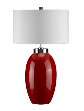 Elstead Victor 1 Light Small Red Ceramic Table Lamp Cream Shade