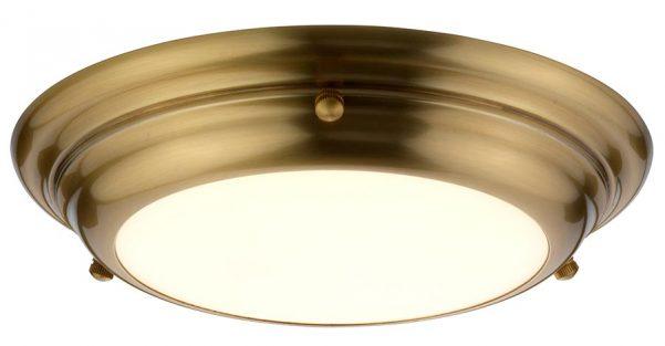 Elstead Welland Small Flush LED Bathroom Ceiling Light Aged Brass