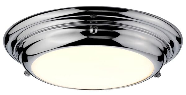 Elstead Welland Small Flush LED Bathroom Ceiling Light Polished Chrome
