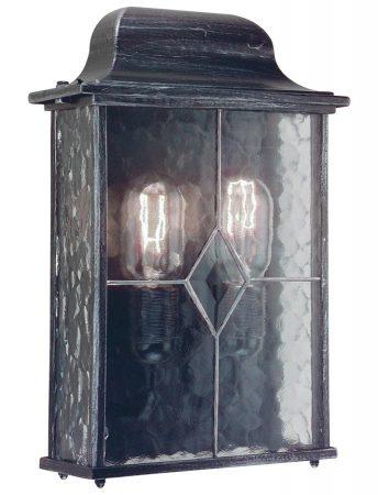 Elstead Wexford 2 Light Flush Outdoor Wall Lantern Black & Silver