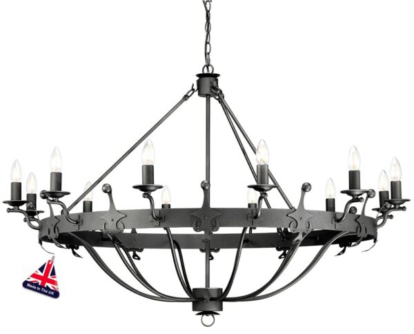 Elstead Windsor 12 Light Large Ironwork Chandelier Graphite Black