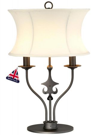Elstead Windsor 2 Light Ironwork Table Lamp Graphite Black Shade