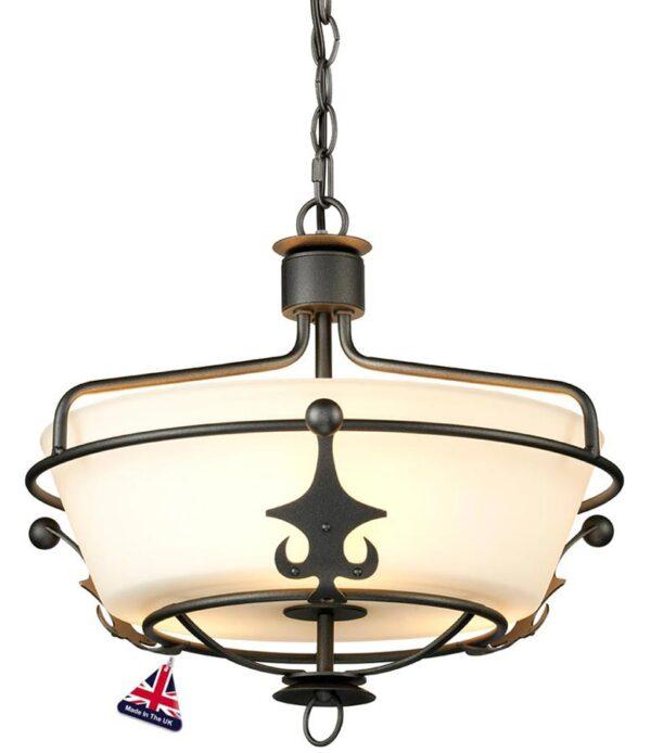 Elstead Windsor 3 Light Semi Flush Pendant Light Graphite Black