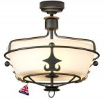 Elstead Windsor 3 Light Semi Flush Pendant Light Graphite Black