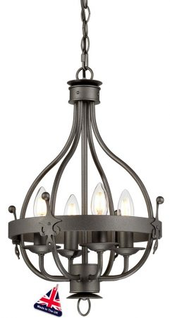 Elstead Windsor 4 Light Ironwork Chandelier Pendant Graphite Black