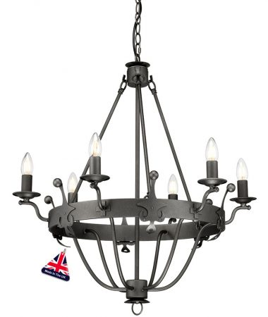 Elstead Windsor 6 Light Ironwork Chandelier Graphite Black British Made