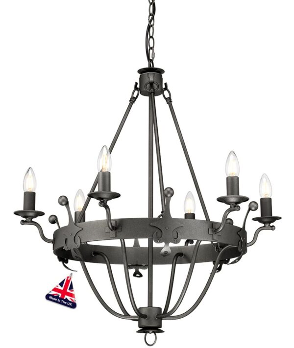 Elstead Windsor 6 Light Ironwork Chandelier Graphite Black British Made