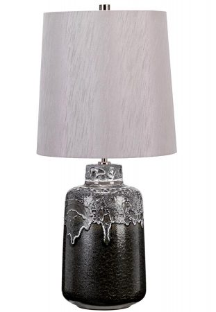 Elstead Woolwich Anthracite Ceramic Table Lamp Silver Shade