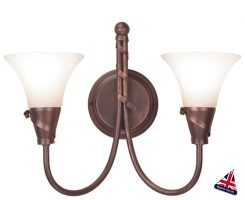 Emily UK Handmade Copper Patina 2 Lamp Wall Light