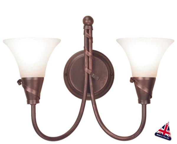 Emily UK Handmade Copper Patina 2 Lamp Wall Light