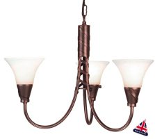 Emily UK Handmade Copper Patina 3 Light Chandelier