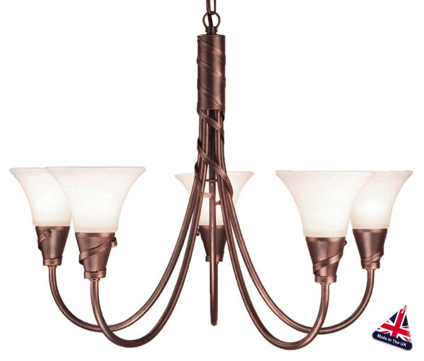 Emily UK Handmade Copper Patina 5 Light Chandelier