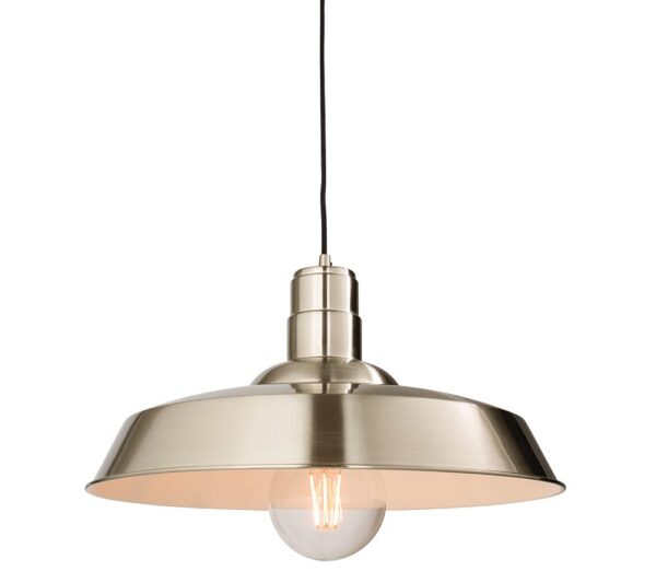 Moore large 1 lamp metal pendant ceiling light polished nickel main image